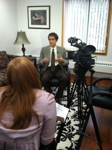Robert Gregory MD is interviewed by YNN's Katie Gibas. Photo by Kathleen Paice Froio.