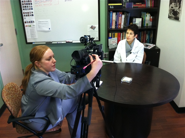 YNN reporter Katie Gibas interviews Donna Bacchi MD. Photo by Kathleen Paice Froio.