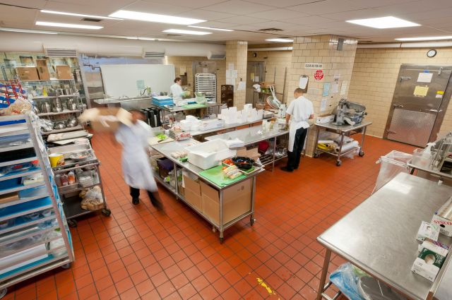 University Hospital's kitchen on the second floor of the Downtown Campus.