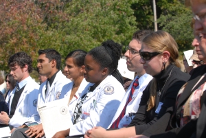 Medical students gathered for an outdoor event in Binghamton.