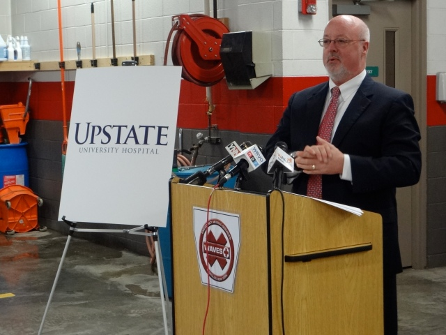 Dr. John McCabe, chief executive officer of Upstate University Hospital, says Upstate will use a $30,000 grant from Excellus BlueCross Blu Shield to acquire and distribute  life-saving cardiac care monitoring equipment for 23 ambulance companies in five counties.  The modems will enable ambulance companies to transmit vital information to area hospital emergency rooms to help speed the diagnosis and treatment of individuals experiencing heart attack symptoms.