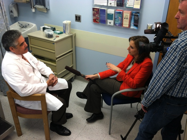 K. Bruce Simmons, MD is interviewed about the norovirus. Photo by Kathleen Paice Froio.