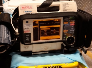 Using a grant from Excellus BlueCross BlueShield, Upstate University Hospital will buy and distribute high-tech modems that will enable heart monitors (like the one pictured) to 23 area ambulance companies so they may transmit vital information to area hospital emergency rooms.