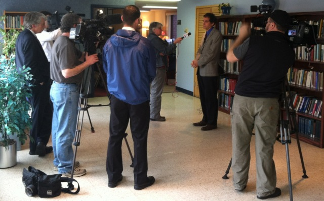 Reporters interview Dr. Robert Gregory on Friday, April 19. Photo by Kathleen Paice Froio.