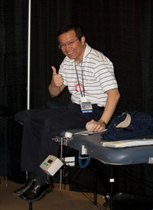 Gene Latorre, MD assistant professor of neurology, gave blood.