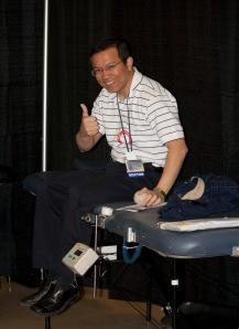 Gene Latorre, MD assistant professor of neurology, gave blood.
