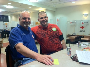 Physical plant employee Mark Rioux said he gave blood today so he could save a life on his daughter's birthday. Joseph Grage is currently serving in the United States Army and donated blood today because his wife is a patient and he recognizes the need for donating blood.