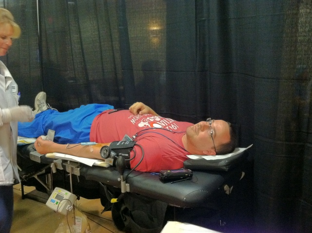 Upstate University Hospital employee Terry Erhart, from Linen Services, donated blood Thursday.