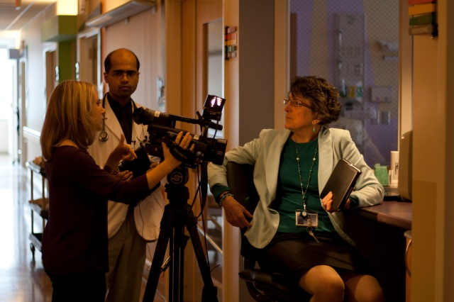 CNYCentral's Dora Scheidell interviewed Ann Botash MD and for a story about using the iPad FaceTime app in medical education. Photo by Kathleen Paice Froio.