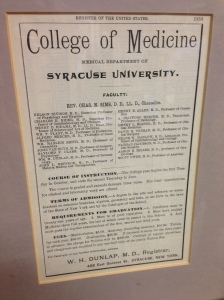 This undated newspaper ad is part of the historical collection in the Upstate Health Sciences Library. Chancellor Charles N. Sims is first mentioned in the college catalogue in 1888.