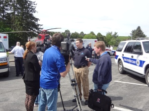 Upstate emergency physician Derek Cooney, MD speaks to the media. Photo by Darryl Geddes.