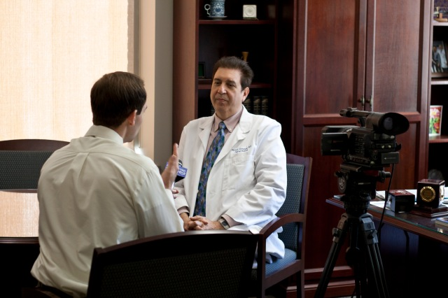 Dr. Michael Iannuzzi, MD is interviewed by CNY Central meteorologist Matt Stevens. Photo by Kathleen Paice Froio.