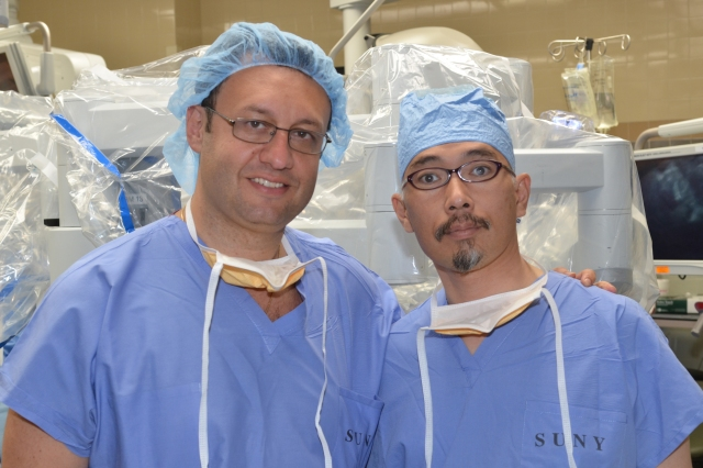 Dr. Gennady Bratslavsky, MD was mentor to Dr. Seiji Matsumoto, MD during his visit from Japan to learn about robotic surgery. Photo by Richard Whelsky.