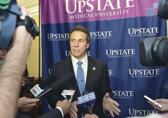 Gov. Andrew Cumo answered questions from the media during a recent visit to Upstate Medical University.