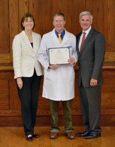 "Sen. David Valesky ""graduates"" from Upstate's Project Medical Education. Dr. Conroy, MD is on his right and Upstate President Dr. David Smith, MD is on his left."