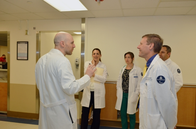 Sen. David J. Valesky, right, tours the Upstate University Hospital Emergency Department with  Photo 3 and 4 he is with Dr. William Paola , from the ED. He was giving a tour of the ED.