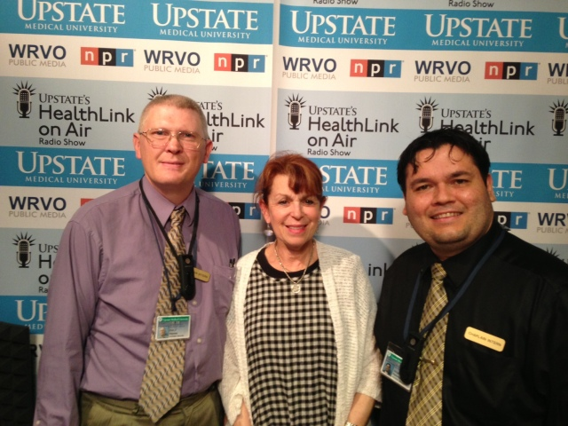 Two of the graduates of the chaplain internship progam were interviewed for Upstate's HealthLink on Air by host, Linda Cohen, center. They are
