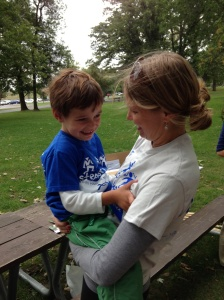 Jude with his mom, at this year's walk.