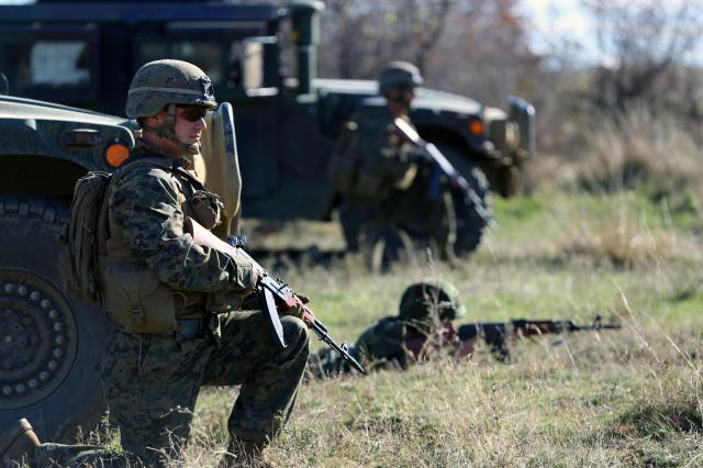 Marines during an exercise in Novo Selo, Bulgaria in November 2013. Photo by 2nd Lt. Danielle Dixon.