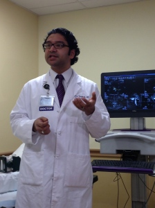 Srinivas Vourganti, MD explains the UroNav technology at a news conference Monday.