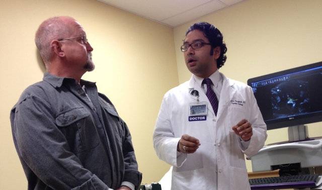 Jeffery Barkley of Phoenix with one of his physicians, Srinivas Vourganti, MD.