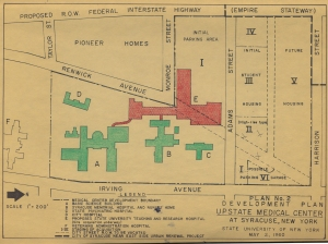 Hand-colored 1960 map of the Upstae campus. The red shows to hospital to be built.