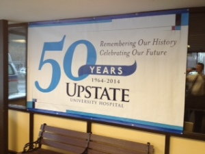 Displayed near the front of Upstate University Hospital at Community is this anniversary banner.