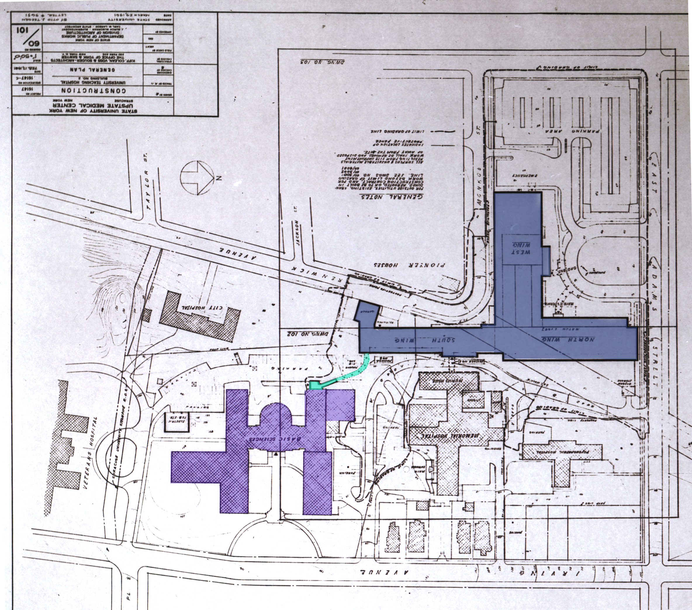"""feb  1958  architect's rendering of the site of the """"state university  hospital"""