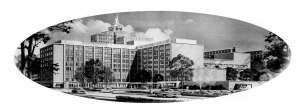 Rendering of downtown hospital, 1961. York and Sawyer, Kiff, Colean, Voss and Souder, architects.