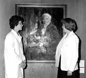 1964: Medical student Pat Numann, right, with Dr. Mary Voorhees, assistant professor of pediatrics, who delivered the Upstate's first Elizabeth Blackwell Day lecture.