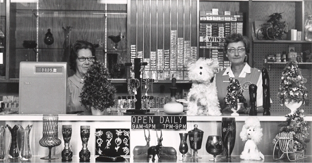 Cigarettes were prominently displayed for sale at the gift shop of  the former Community-General Hospital. ND. Pictures are hospital volunteers Peg Roth and Jayne Hayes. From Health Science Library, Upstate Medical University