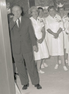 "Upstate President Carlyle ""Jake"" Jacobsen PhD smokes a cigarette at the opening ceremony for SUNY Upstate University Hospital, July 1964."