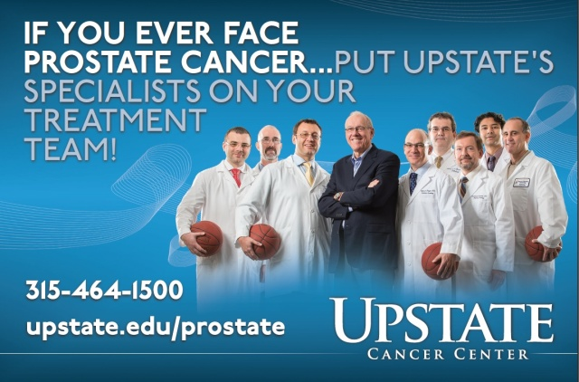 SU Basketball Coach Jim Boeheim is surrounded by Upstate's prostate cancer team: urologist Oleg Shapiro, MD, pathologist Steve Landas, MD, urologist Gennady Bratslavsky, radiation oncologist Jeffrey Bogart, MD, pathologist Gustavo de la Roza, MD, radiologist Andrij Wojtowycz, MD, urologist Srinivas Vourganti, MD, and radiologist Robert Poster, MD.