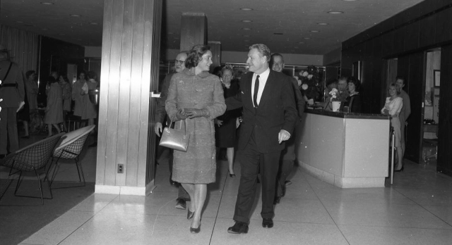 Gov. Nelson Rockefeller and his wife, Happy, tour the new Upstate hospital in 1964. Behind them is are Drs. Carlyle and Cookie Jacobsen.