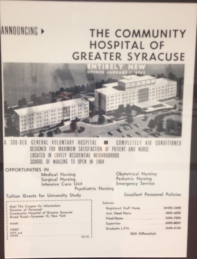 This newspaper advertisement is framed and hanging at the Upstate University Hospital at Community campus.