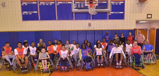 Participants in the unified wheelchair basketball event held at Nottingham High School.