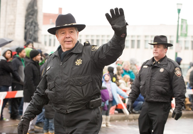 Onondaga County Undersheriff Warren Darby marched in the St. Patrick's Day Parade in downtown Syracuse.