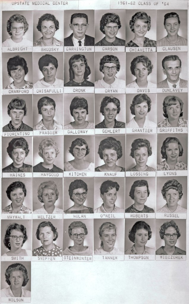 Class of 1964, Nursing Program, SUNY Upstate Medical Center (SUNY Upstate began offering associate's degree programs for nurses in 1959.)