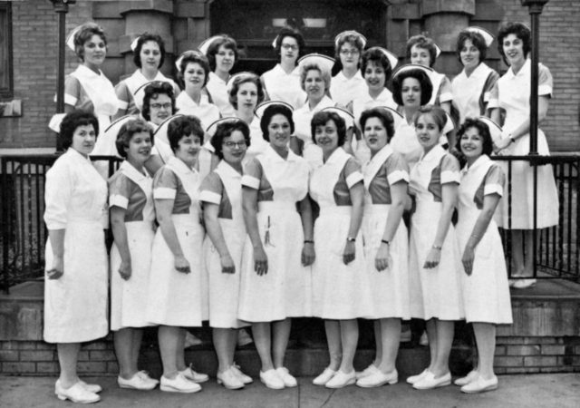 Class of 1963, School of Nursing, General Hospital of Syracuse. (This school was located on the corner of Castle and South State streets, Syracuse.)