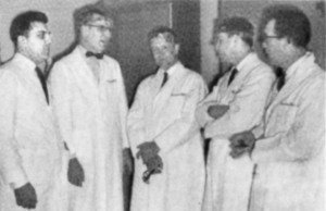 Dr. Falcone (left)  and Dr. Bernard Sisson (center) selected  the plastic surgery instruments for the new Community Hospital in 1961. (Also pictured: Drs. Brewer, Poushter and Stark)