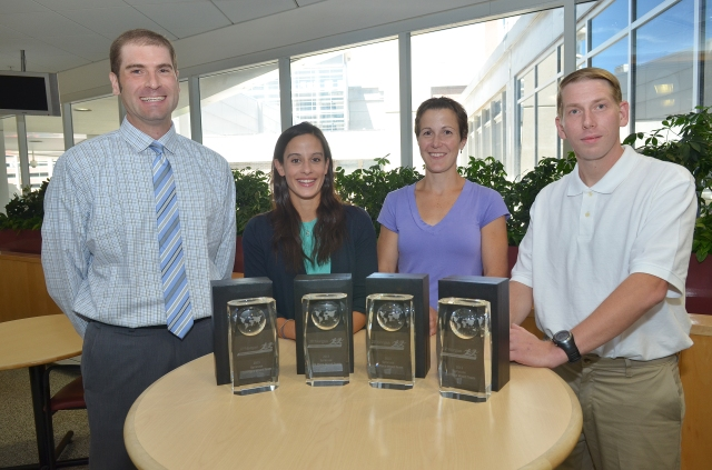 Chris Loughlin, Kristin Kmack, Cara Lavier and John Kolh took first place in last summer's Corporate Challenge race as a mixed team representing Upstate Medical University.