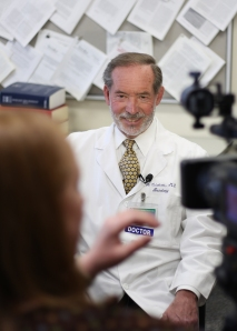 Dr. Antonio Culebras during a television interview. Photo by Kathleen Paice Froio.