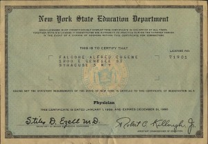 Dr. Falcone's 1959 physician's license.