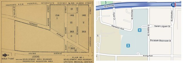 1960 and 2014 maps of Upstate's downtown property. Hinton Peterson's childhood home was on Renwick Place, shown on the 1960 map.