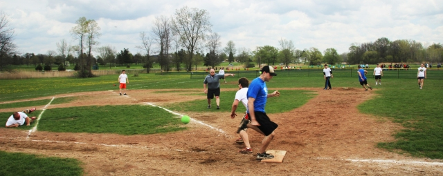 The kickball tournament took place in May. Photo by Doug Rosenthal.