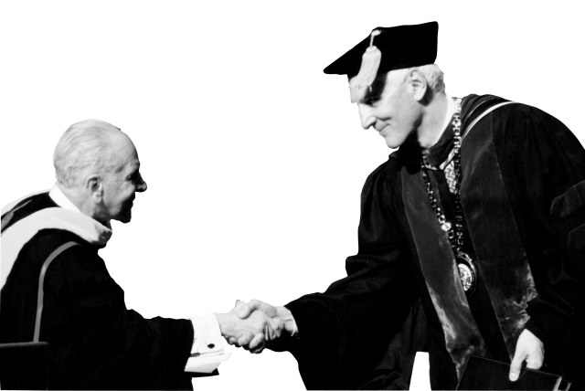 Dr. Szasz with President Gregory Eastwood MD, at Upstate's commencement, 2001.