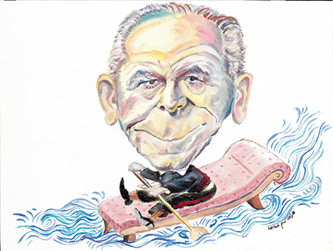 This illustration — showing Dr. Szasz paddling a over stormy seas, sums up his effect of the world of psychiatry.