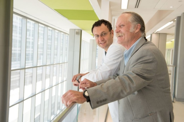 Patient Allan Sustare with his surgeon, Gennady Bratslavsky, MD, in the new Upstate Cancer Center.