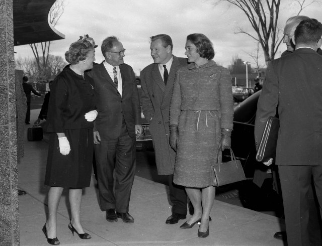 Drs. Cookie and Jake Jacobsen meet with NY Governor Nelson Rockefeller  and his wife, Happy, at the newly opened Upstate University Hospital, 1965.