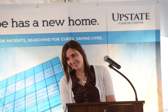 Heather Gangemi, 32, of North Syracuse survived Hodgkin's lymphoma, which was diagnosed when she was 14. She spoke at the ribbon cutting for the new Upstate Cancer Center in July.